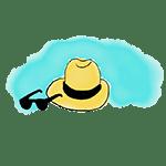 dibujo sombrero y gafas de sol