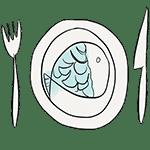 dibujo plato pescado