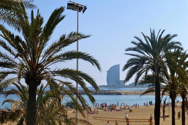 playas de Barcelona palmeras hotel W