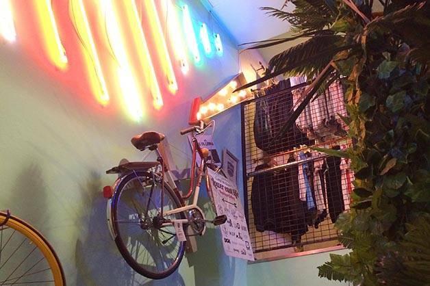 flamingos gallery bicicleta colgada