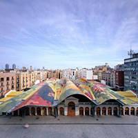 mercat de santa caterina: tejado de colores arquitectura