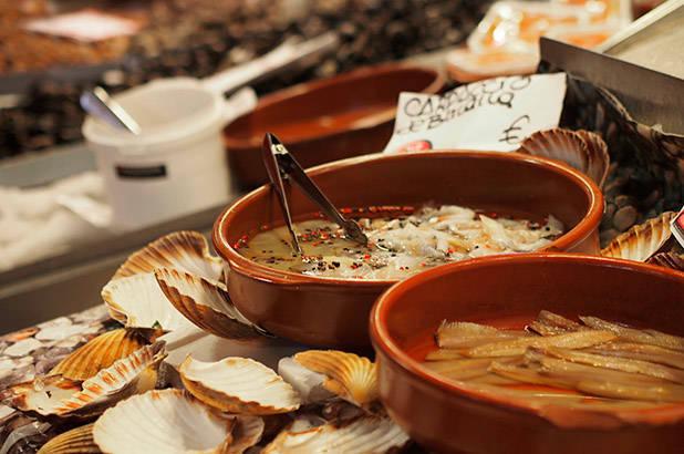 crustáceos mercado de la Boquería