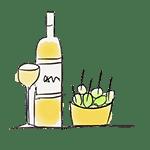 dibujo tapas y botella de vino