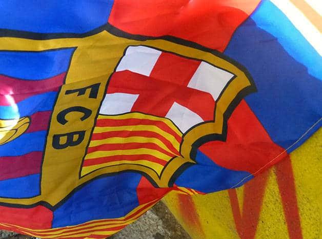 bandera del Barça Iniesta