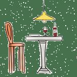 dibujo mesa restaurante