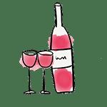 dibujo botella y vasos