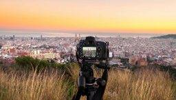 Barcelone panorama vu à travers un appareil reflex