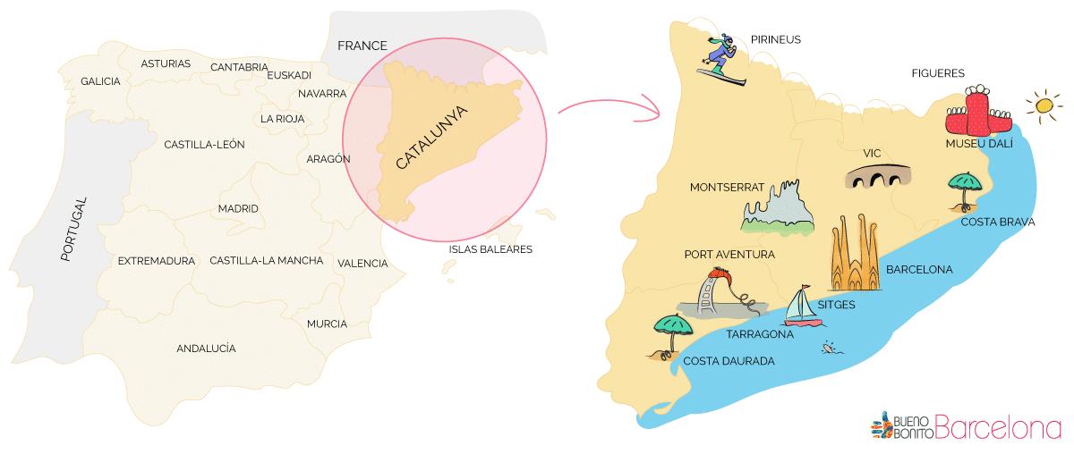 Mapa dibujado de Cataluña y de España